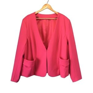 3X Bright Pink Hook-Closure Blazer Penningtons